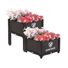 Suntour High Quality Stackable Planter Box Plastic Easy Grow Raised Elevated Patio Garden Bed Flower Vegetable Bed