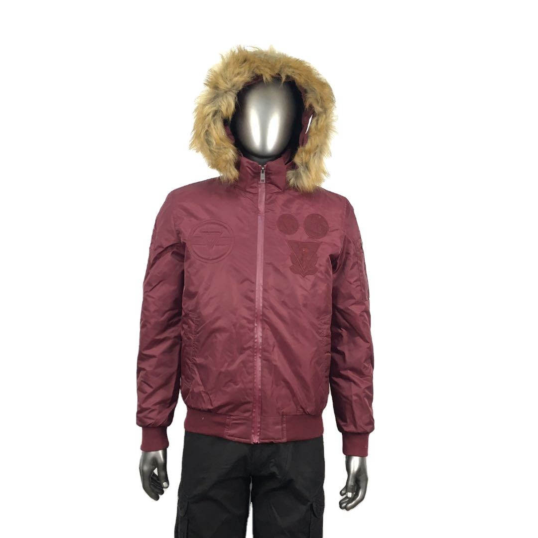 Fur hood army green mens bomber jacket in stock waterproof winter jacket with stock price
