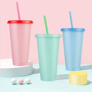 Color Changing Cold Drink Cups 24oz color changing tumbler plastic Iced Coffee Tumblers 24oz acrylic tumbler color changed