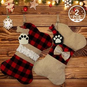 Customized Hot Selling Incredible Monogrammed Dog Bone Pet Plaid Christmas Stocking with High Quality
