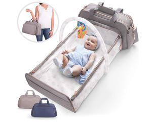 Functional Lightweight Grey Blue 4-in-1 Convertible Baby Diaper Bag Bed