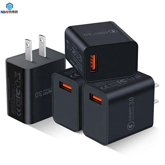 Amazon Hot Selling Quick Charge 3.0 Wall Charger, 18W QC 3.0 USB Charger Travel Adapter Fast Charging for iphone for samsung