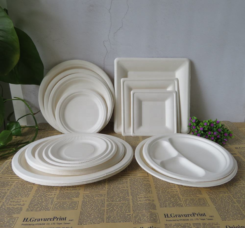 Disposable Biodegradable Christmas Round Square Oval Sugarcane Paper Plates Biodegradable Disposable