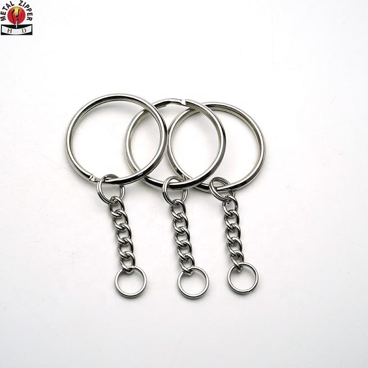 DIY Split Key Ring with Chain,Lystaii Nickel Plated Split Key Ring with Chain Silver Color Metal Split Keychain Ring Parts