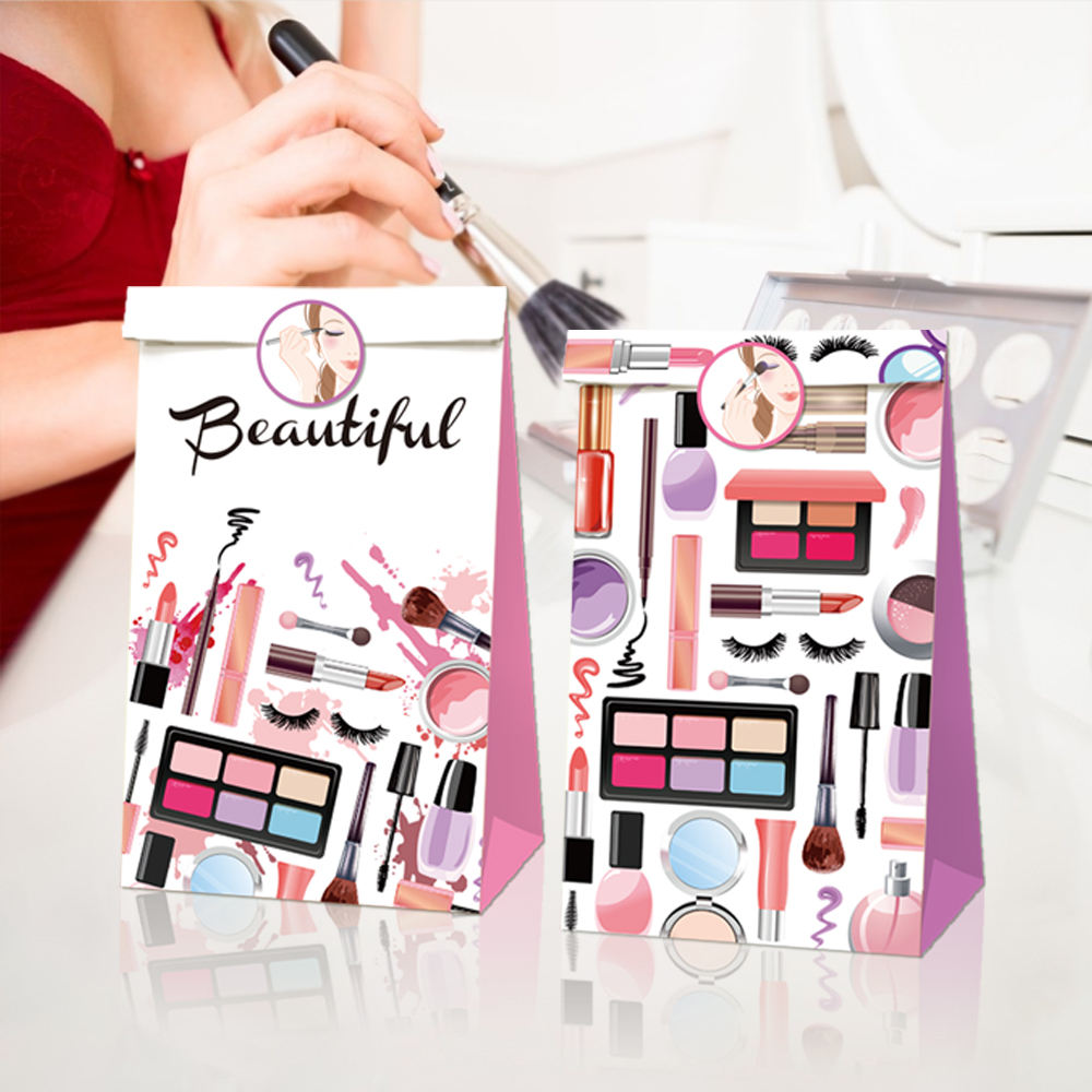 LB039 Hot Sale Make Up Spa Day Theme Party Supplies Cosmetics Design Kraft Paper Bag Fancy Gift Candy Bags for Girls