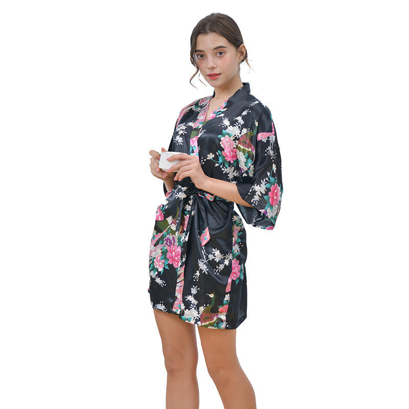 Summer night wear sexy women nighty sleep dress sleeve dressing gown bathrobe home pajama