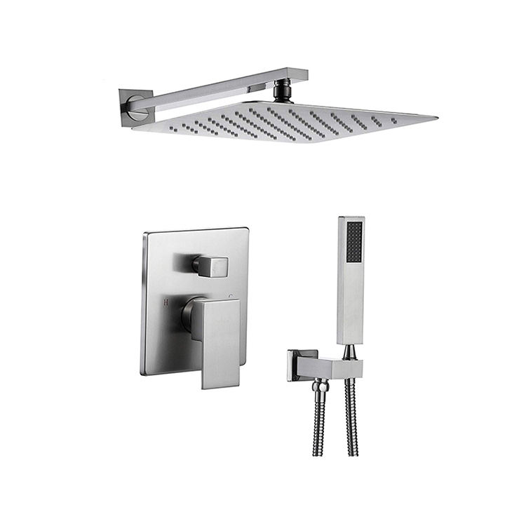 Skillful manufacture fashion design chrome finished shower set with square top shower and square ABS hand shower