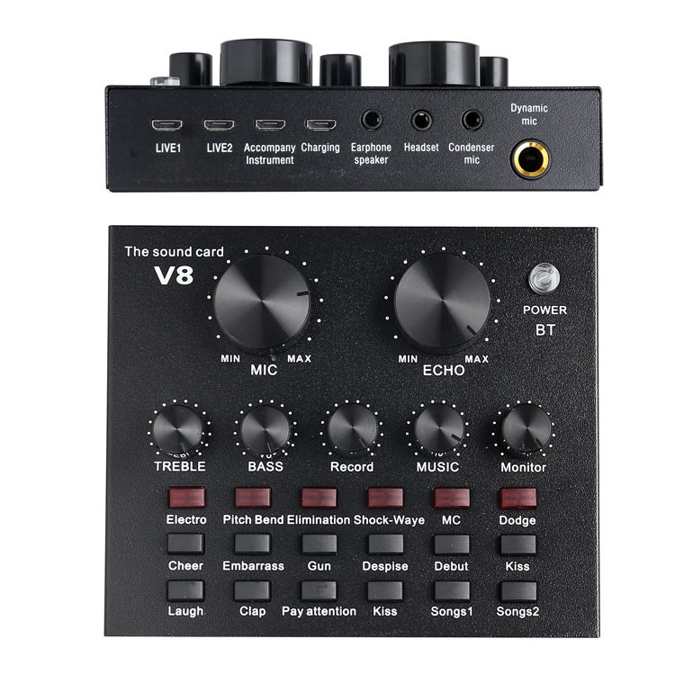 Professional Studio Audio Interface Recording External Live Sound Card V8 For Condenser Microphone