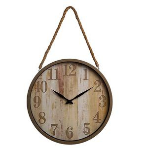 Farmhouse Rustic Vintage Bronze Solid Wood Noiseless Round Vintage Decorative Wall Clock For Sale