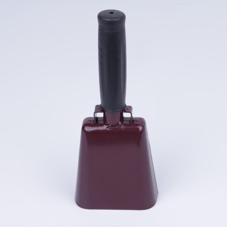 "Wholesale 8.6"" maroon cow bell noise maker with custom logo , bells factory in China for 12 years"
