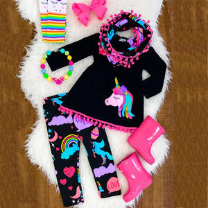 long sleeve with pants 2pcs sets cartoon print outfits fall boutique baby girls outfits