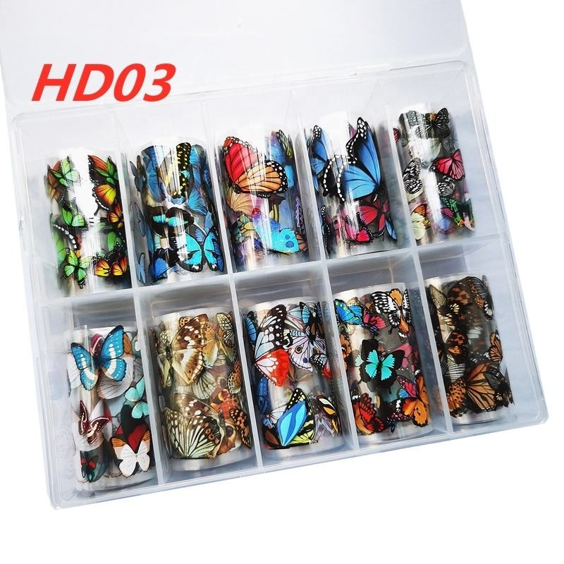 NO.HDO3 butterfly foil 2020 factory 10 colors 4*100cm fashion & popular nail art foil nail art sticker nail foil
