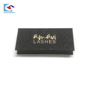 SENCAI custom shiny black eyelash box with mirror