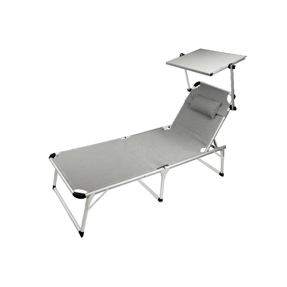 Good quality aluminum adjustable sun beach lounger bed with sunshade