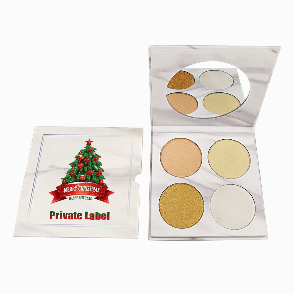 Private label 4 Colors Highlighter Makeup Custom Logo Pressed Highlighter Bronzer Palette