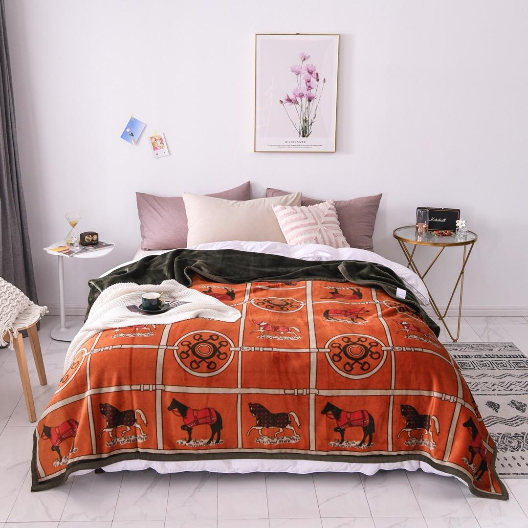 European style double-layer thickening comfortable luxury orange horse pattern blanket