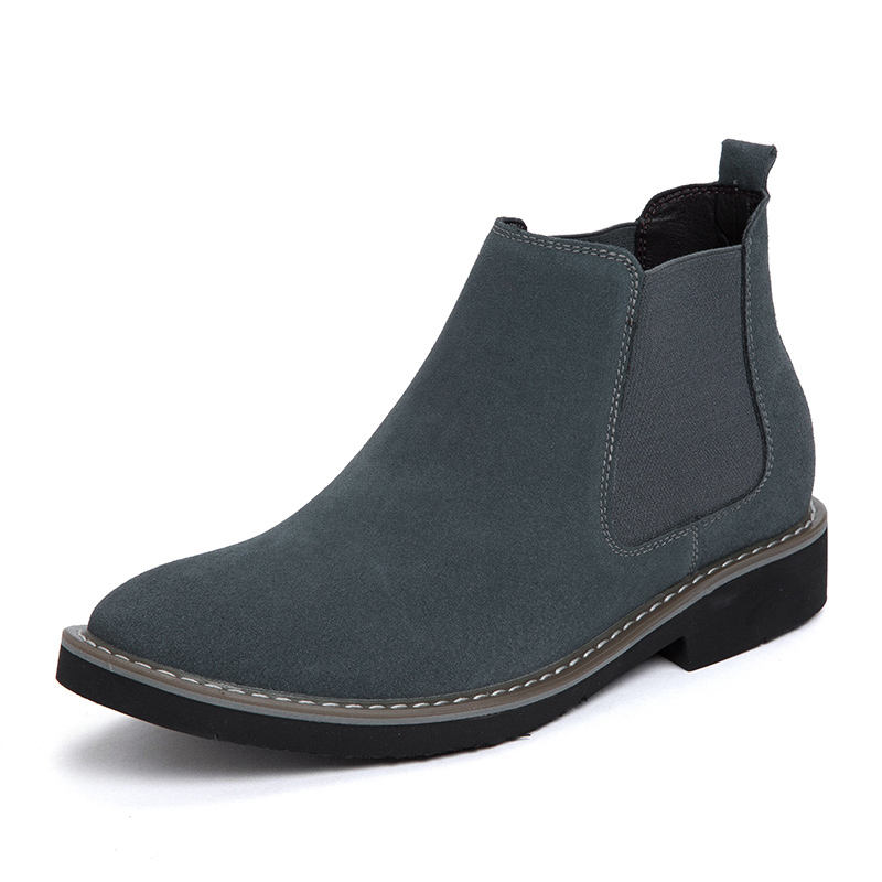 Men Genuine Leather Shoes High Cut Height Increasing Fashion Design Performance Chelsea Boots Men Suede
