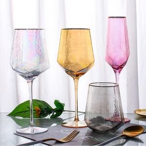 Amazon Nordic style INS gray/smoke amber purple clear rain-bow red wine glass champagne goblet water glass