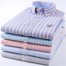 Long Sleeve Cotton Oxford Men's Shirts with Leisure Business Stripes