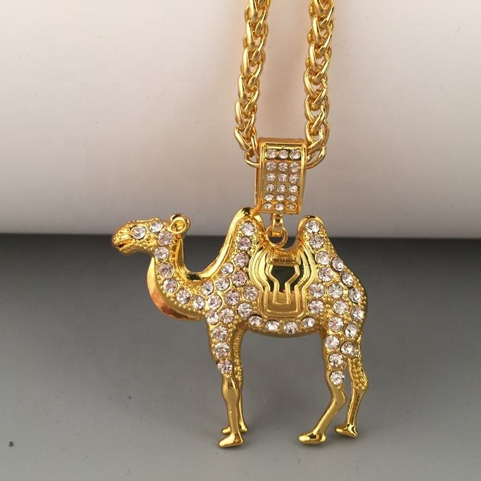 18K Gold Plated Hiphop Iced Out Crystal Rhinestone Animal Pendant Camel Necklace Men Jewellery