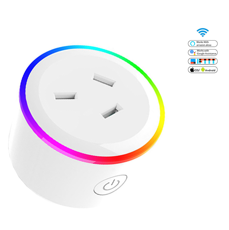 Australia SAA Certification Wifi Smart Plug With RGB Light Tuya Socket 10A Voice Control New Zealand Type