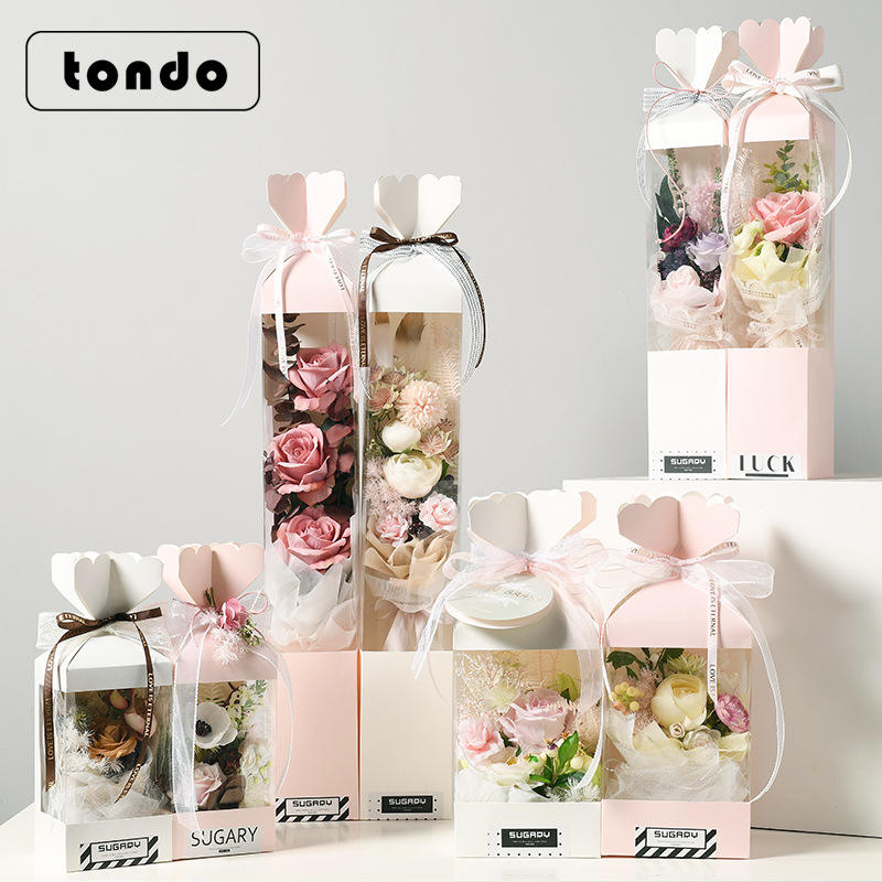 Tondo 2021 New Design Clear PVC Mother Day Gift flower bouquet hand Carry bag