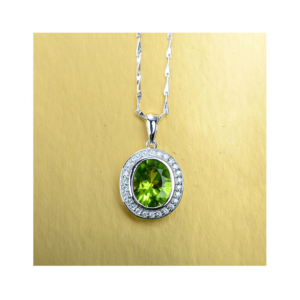 white gold plated 925 micro pave cz glass stone oval green geometric cheapest jewelry necklace