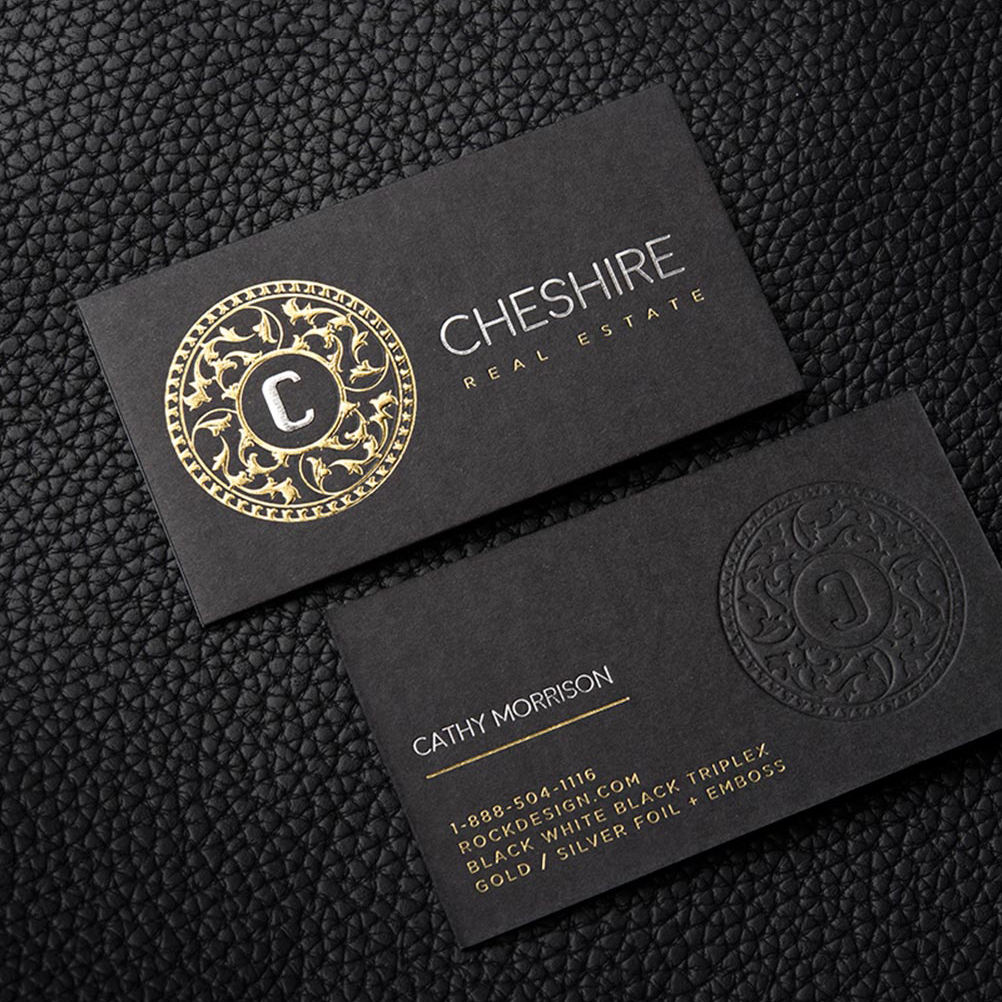Custom brand embossed foil logo printing 700g black cardboard matt gold stamping business card
