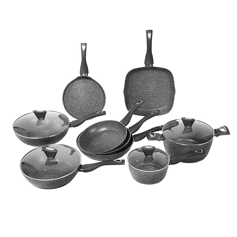 New design aluminum non stick fry pan and pot cookware set