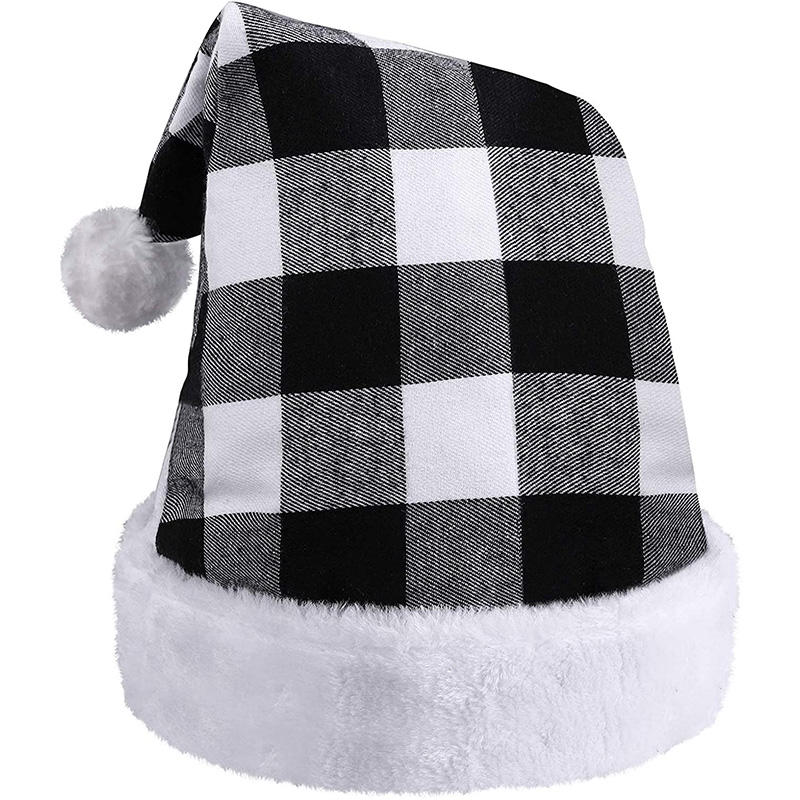 Black and White Plaid Santa Hat Extra Thicken Unisex Velvet Comfort Classic Plush for Christmas Festive Holiday Party Supplies
