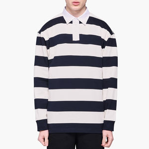 New Season Sportswear Design Men Striped Rugby Polo T Shirt Wholesale Knitted Fabric Dry Fit Polo Wear