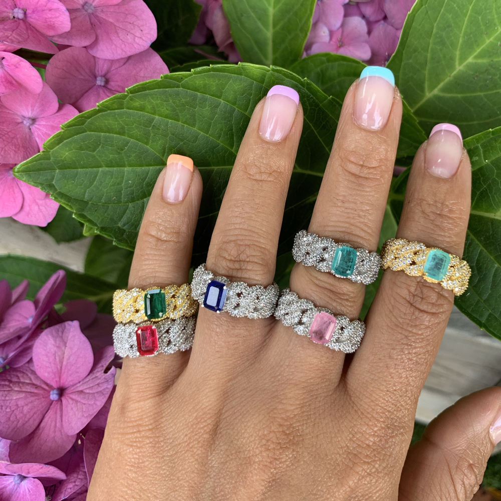 big rectangle birthstone cz cuban link chain band iced out bling full finger cuban eternity band women ring