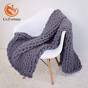 Super soft handmade chunky chenille knit microfiber polyester blanket throw