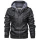 2019 Classic PU Leather Men's Motorcycle Fashion Trucker Jackets Full Zipper Up Black Brown Leather Jackets with Removeable Hood