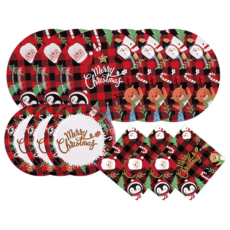 Christmas Decoration Party Supplies Plates Napkins Disposable Buffalo Plaid Tableware with Santa Claus Snowman Serve 25