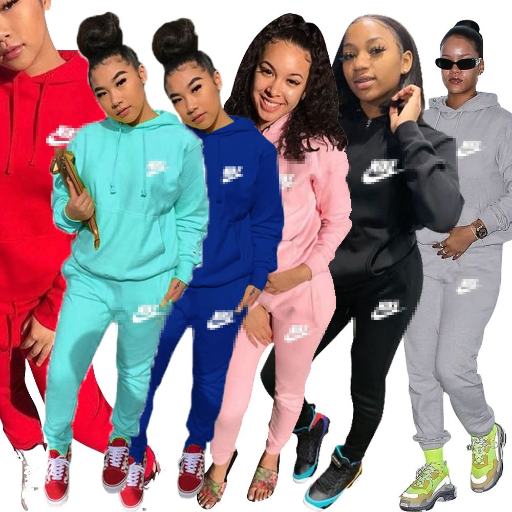 Boutique Clothing Women Famous Brand Women Hoodies Solid Color Women'S Tracksuit Suits Casual Two Piece Pants Set
