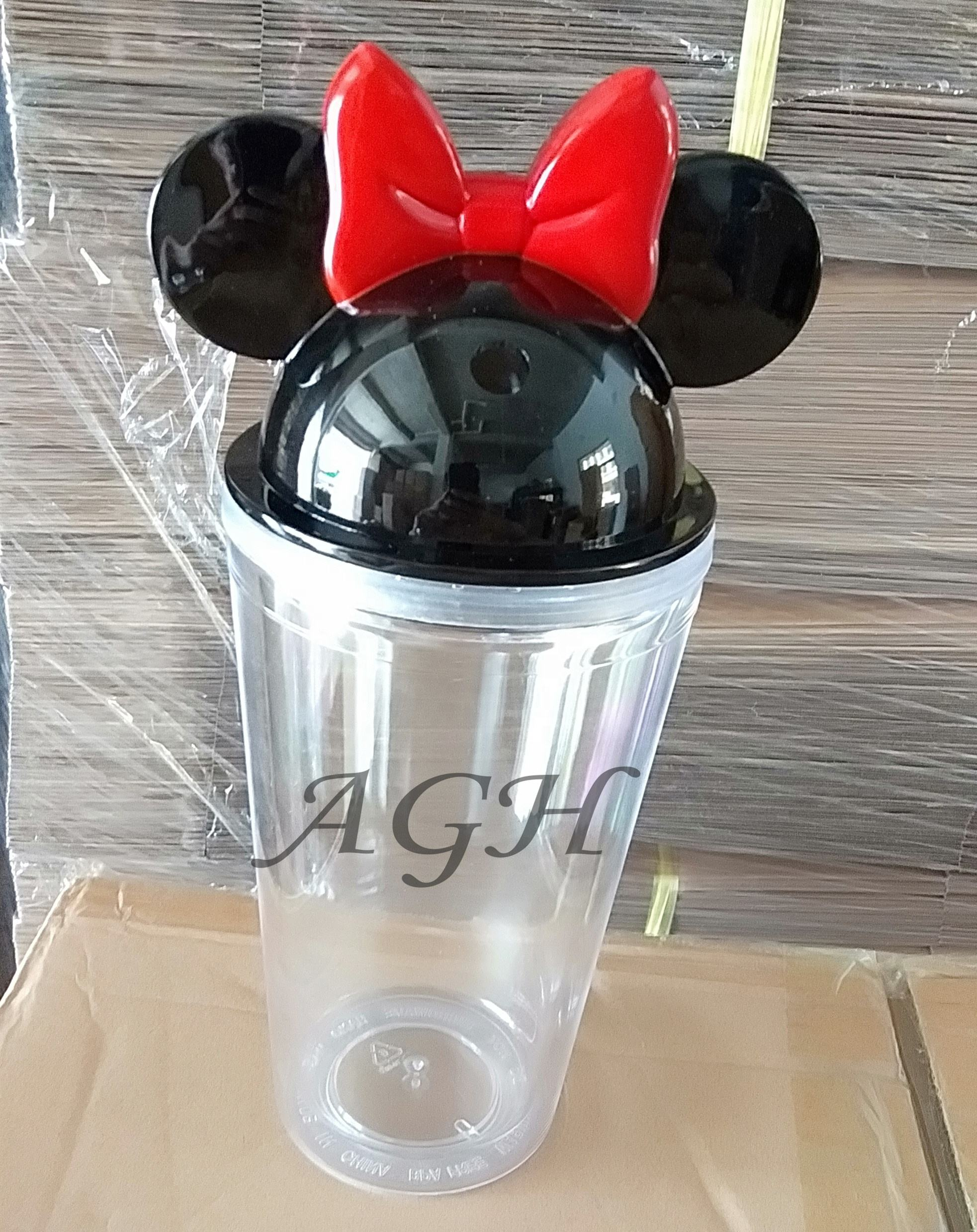 Ready to ship:New double walled tumbler plastic Acrylic Clear Water Tumbler 16oz Mickey Mouse Minnie Tumbler Cup BPA free