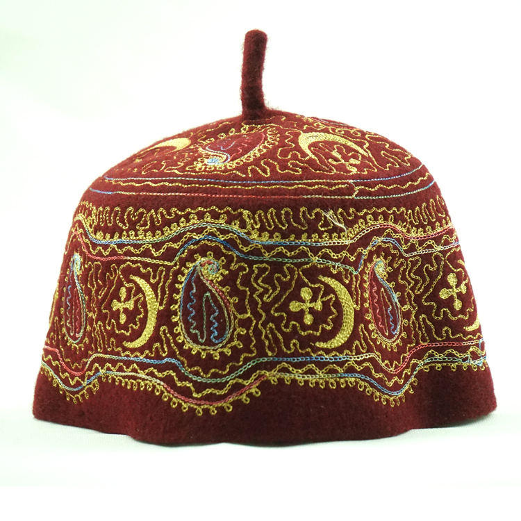 New design polyester fabric handmade embroidery felt muslim islamic clothing men cap