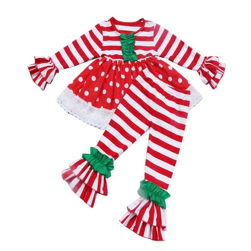 Christmas Baby Girl Fall Clothes Red Striped Dress Ruffle Pants 2 PCS Sets Boutique Polka Dots Dress Autumn Winter Girl Clothing