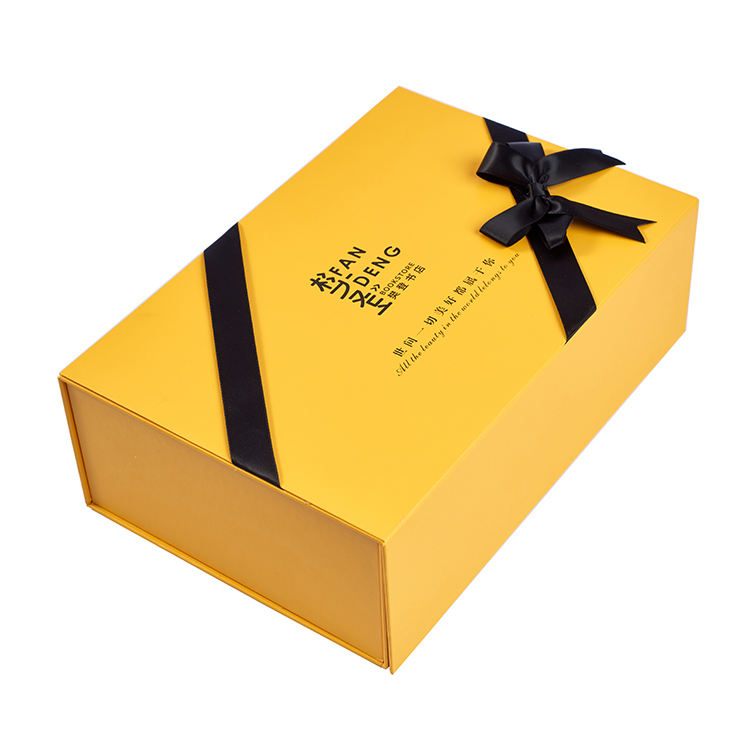 YOUSE High Quality Custom Made Logo Handle Luxury Yellow Book Shape Gift Packaging Boxes