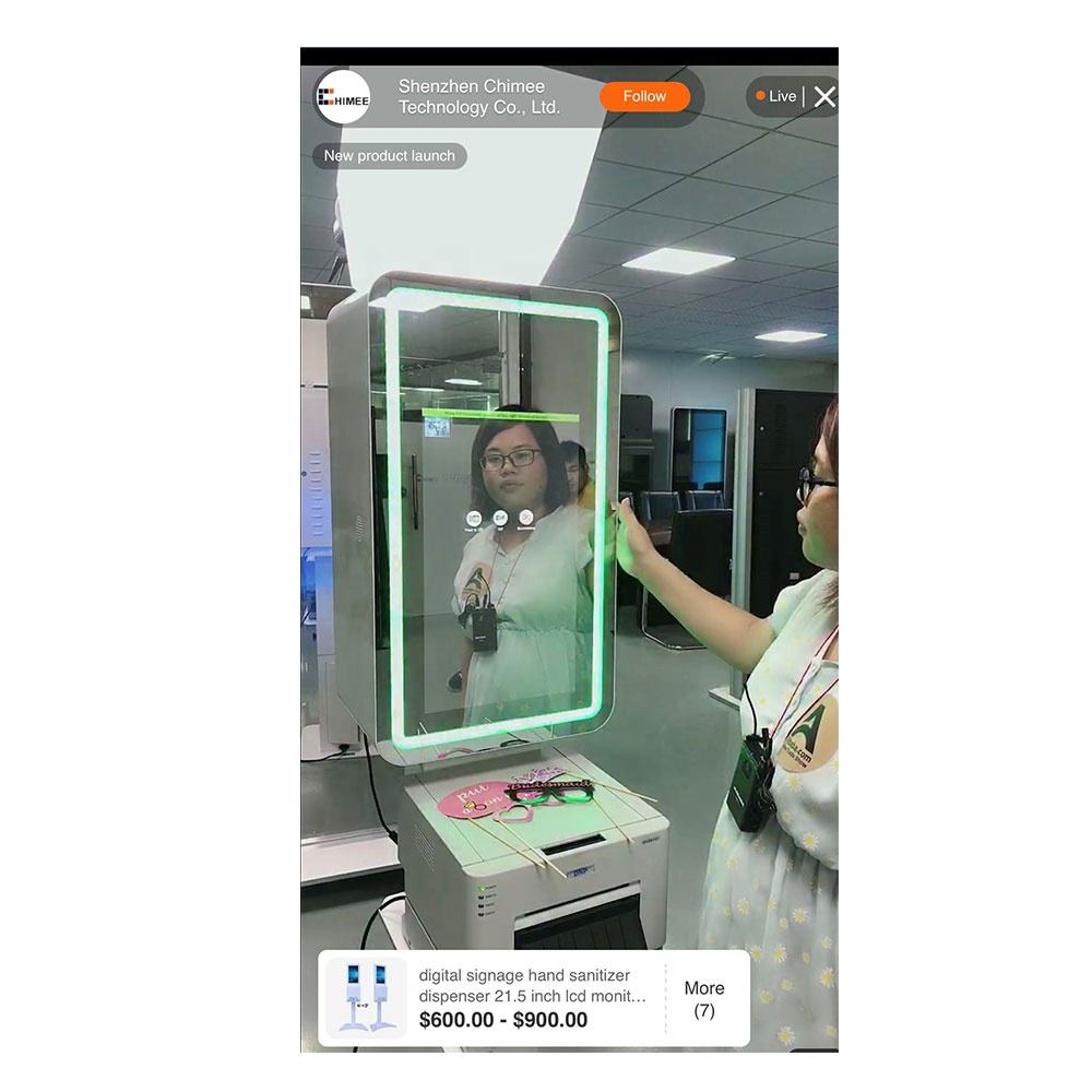 21.5 inch selfie booth with dual led lights excellent for photo booth business