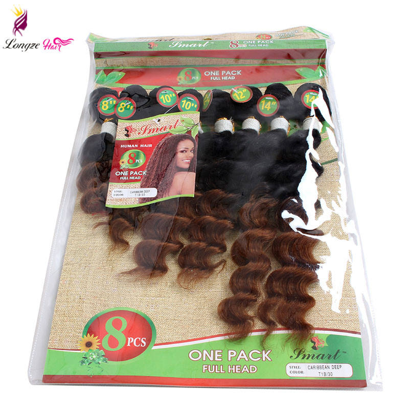 8pcs/lot Brazilian Hair Unprocessed Jerry Kinky Curly Hairpiece 8-14inch Ombre 1B/27 1B/30 Deep Wave Jerry Curly Hair Bundles