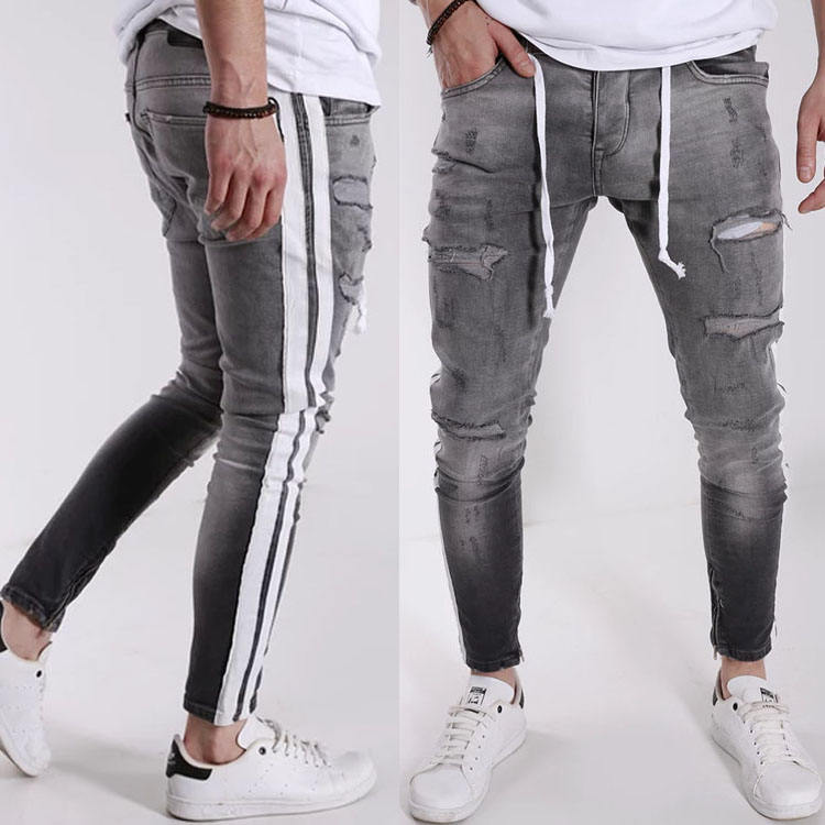 Latest High quality designer custom side stripe and ankle zipper men skinny ripped jeans trousers