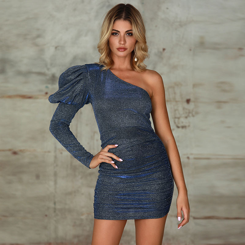 Womens Clothing One Shoulder Dresses Sequin Bodycon Wrap Tube Mini Dress