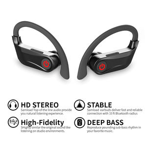Power Hbq Pro LED Display Bluetooth 5.0 Headset 9D Suara Stereo Ear Hook Wireless Earphone