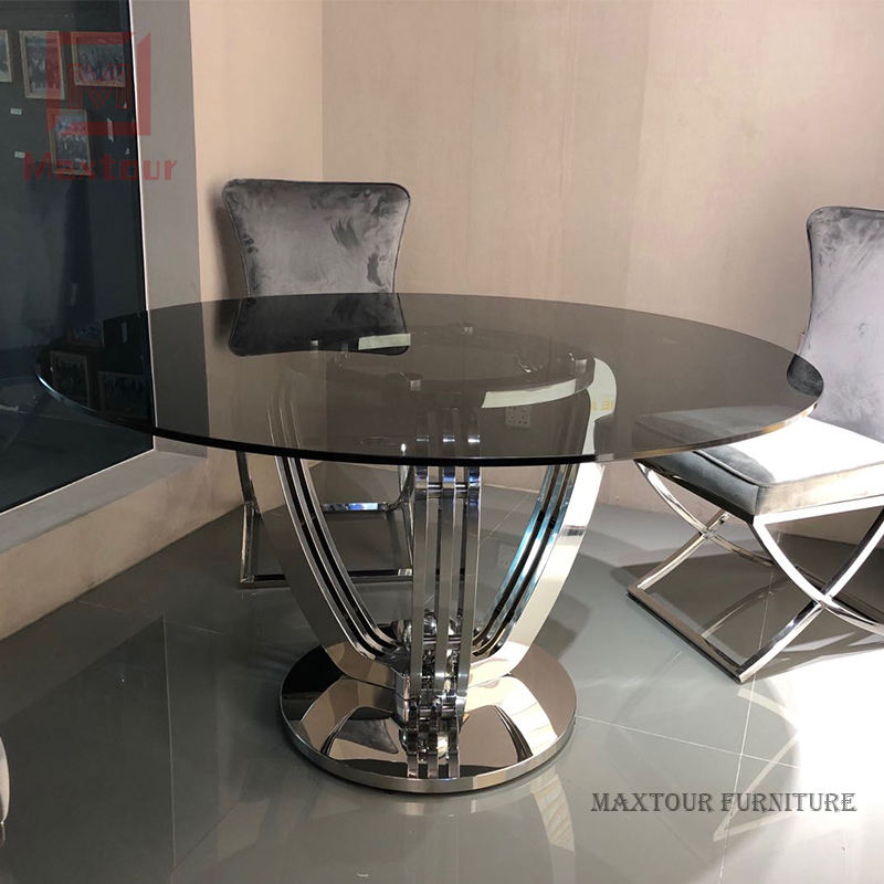 New design strong stainless steel base round glass dining table