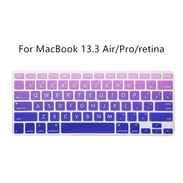 Silicone Keyboard Cover Dust-proof Waterproof Gradient Colors Keyboard Protective Universal For MacBook 13.3Inch Air Pro Retina
