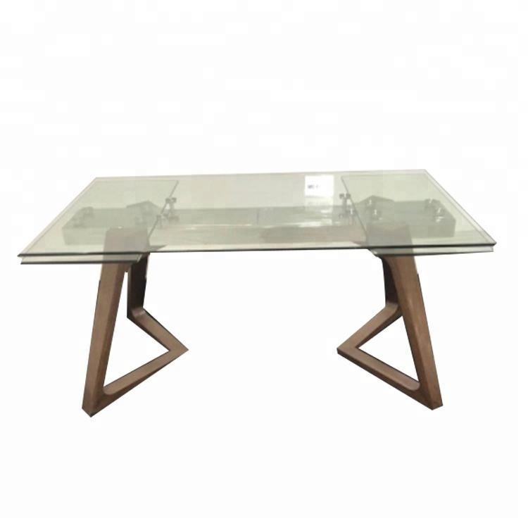 Diseño italiano con vidrio templado en la parte superior de madera de nogal maciza madera pies base extensible con espejo de