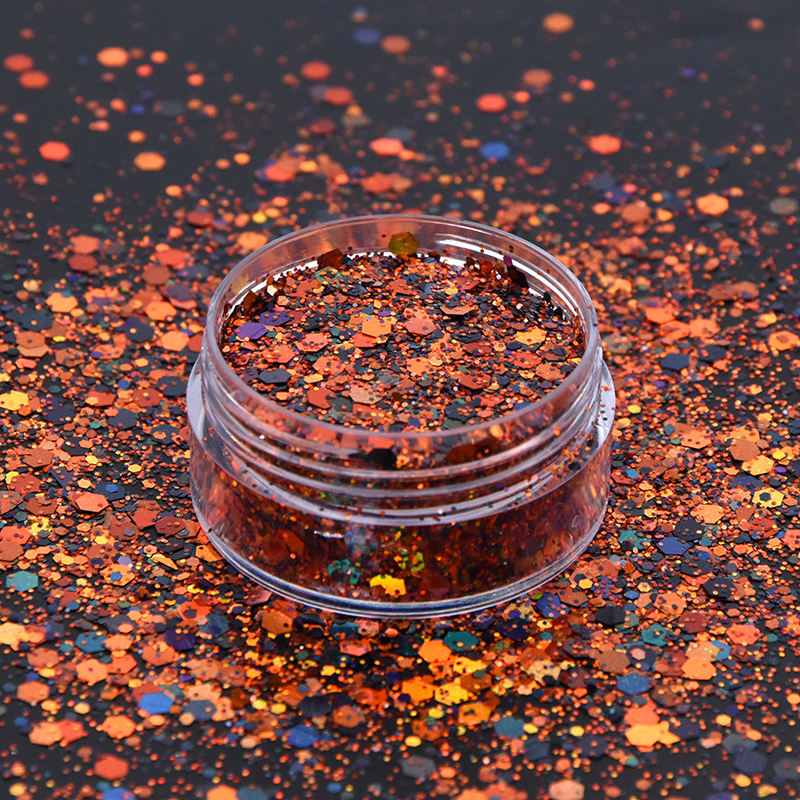 Solvent resistance Holographic orange black mix halloween cosmetic glitter shape halloween glitter