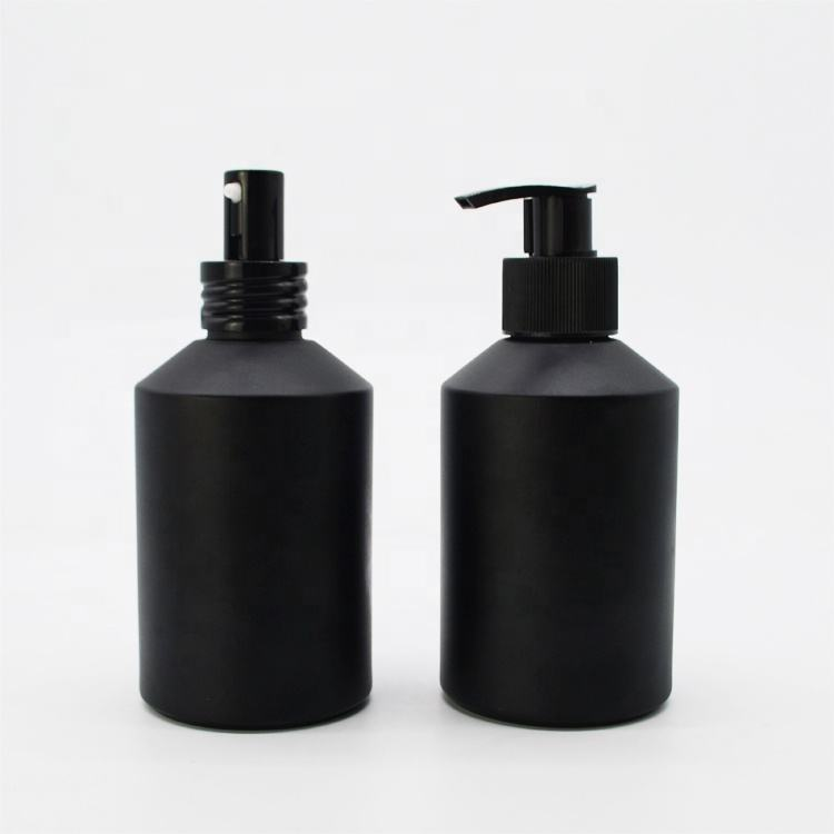 In stock 200ml frosted matte black glass bottles with pump and spray